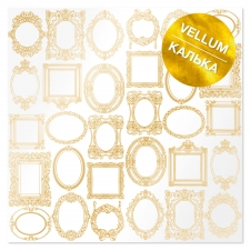 "Gold foiled vellum sheet ""Golden Frames"""