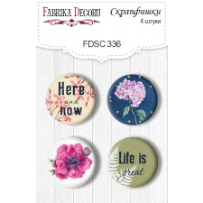 "Flair buttons.  Set of 4pcs #336 ""Night Garden"""