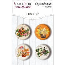 "Flair buttons. Set of 4pcs #342 ""Botany Autumn Redesign"""