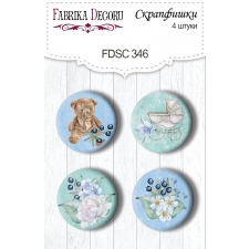 "Flair buttons. Set of 4pcs #346 ""Shabby Baby Boy"""