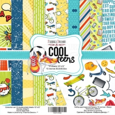 "Double-sided scrapbooking paper set ""Cool Teens"", 12""x 12"" , Fabrika Decoru"
