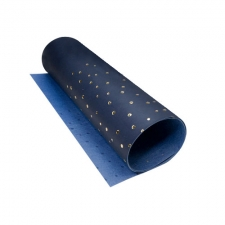 Piece of PU leather with gold stamping Golden Maxi Drops Dark Blue