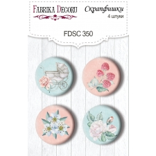"Flair buttons. Set of 4pcs #350 ""Shabby Baby Girl"""