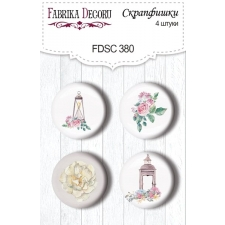 "Flair buttons. Set of 4pcs #380 ""Shabby Love"""