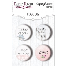 """Flair buttons. Set of 4pcs #382 """"Shabby Love"""""""