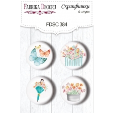 "Flair buttons. Set of 4pcs #384 ""Scent of Spring"""