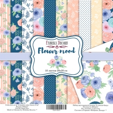 "Double-sided scrapbooking paper set  ""Flower mood"", 8""x 8"" , Fabrika Decoru"