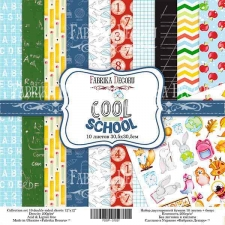"Double-sided scrapbooking paper set ""Cool school"", 12""x 12"" , Fabrika Decoru"