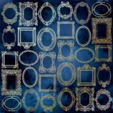 "Embossed paper sheet ""Golden Frames Night Garden"""