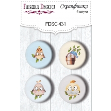 "Flair buttons. Set of 4pcs #431 ""Cutie Sparrow Boy"""