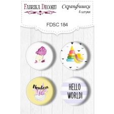 "Flair buttons. Set of 4pcs #184 ""Dino Baby"""