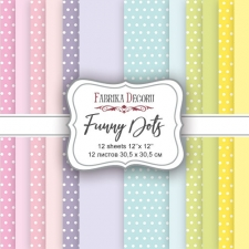 "Double-sided scrapbooking paper set ""Funny Dots"", 12""x12"""