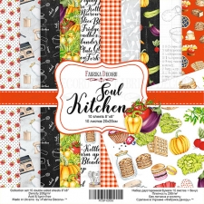 "Double-sided scrapbooking paper set ""Soul Kitchen"", 8""x 8"", Fabrika Decoru"