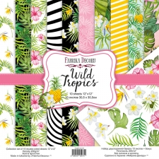 "Double-sided scrapbooking paper set ""Wild Tropics"", 12""x12"""