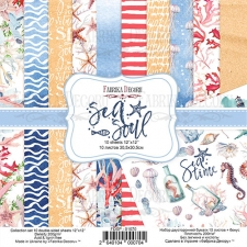 "Double-sided scrapbooking paper set ""Sea Soul"", 12""x 12"", Fabrika Decoru"