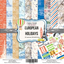 "Double-sided scrapbooking paper set ""European holidays"", 12""x 12"" , Fabrika Decoru"