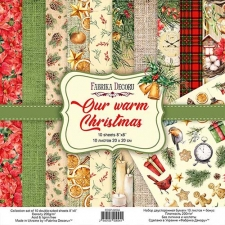 "Double-sided scrapbooking paper set ""Our Warm Christmas"", 8""x8"", Fabrika Decoru"