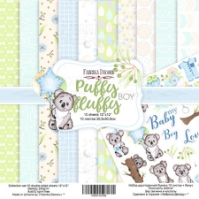 "Double-sided scrapbooking paper set ""Puffy Fluffy Boy"", 12""x 12"" , Fabrika Decoru"