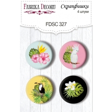 "Flair buttons.  Set of 4pcs #327 ""Wild Tropics"""