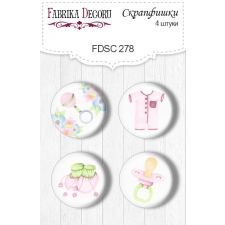 "Flair buttons. Set of 4pcs #278 ""Puffy Fluffy Girl"""