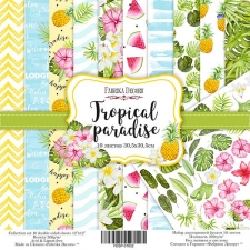 "Double-sided scrapbooking paper set ""Tropical Paradise"", 12""x12"""