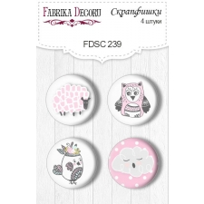 "Flair buttons. Set of 4pcs #239 ""Scandi Baby Girl"""