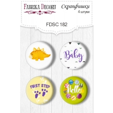 "Flair buttons. Set of 4pcs #182 ""Dino Baby"""