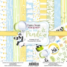 "Double-sided scrapbooking paper set ""My little panda boy"", 12""x 12"" , Fabrika Decoru"