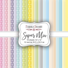 "Double-sided scrapbooking paper set ""Super Mix"", 12""x 12"" , Fabrika Deсoru"