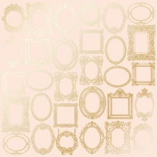 "Sheet of single-sided paper embossed by golden foil ""Golden Frames Beige"""