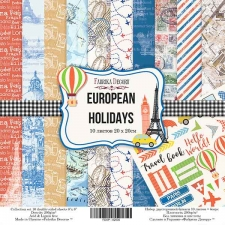 "Double-sided scrapbooking paper set ""European holidays"", 8""x 8"" , Fabrika Decoru"
