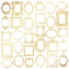 "Sheet of single-sided paper embossed by golden foil ""Golden Frames White"""