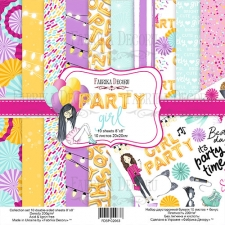 "Double-sided scrapbooking paper set ""Party girl"", 8""x8"""