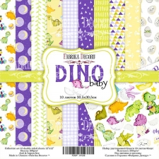 "Double-sided scrapbooking paper set ""Dino baby"", 12""x 12"" , Fabrika Decoru"