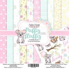 "Double-sided scrapbooking paper set ""Puffy Fluffy Girl"", 12""x 12"" , Fabrika Decoru"