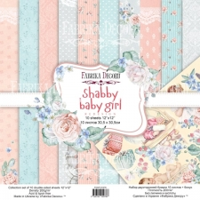 "Double-sided scrapbooking paper set ""Shabby Baby Girl"", 12""x12"""