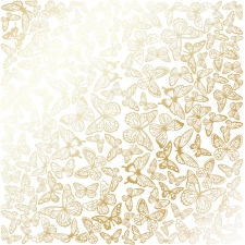 "Sheet of single-sided paper embossed by golden foil ""Golden Butterflies White"""