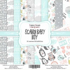 "Double-sided scrapbooking paper set ""Scandi Baby Boy"", 12""x 12"" , Fabrika Decoru"