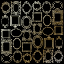 "Sheet of single-sided paper embossed by golden foil ""Golden Frames Black"""