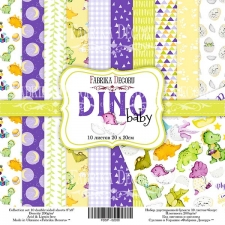 "Double-sided scrapbooking paper set  ""Dino baby"", 8""x 8"" , Fabrika Decoru"