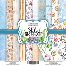 "Double-sided scrapbooking paper set  ""Sea Breeze"", 8""x 8"" , Fabrika Deсoru"