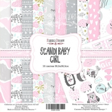"Double-sided scrapbooking paper set ""Scandi Baby Girl"", 12""x 12"" , Fabrika Decoru"