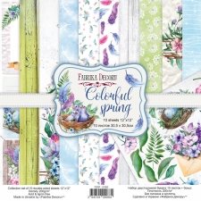 "Double-sided scrapbooking paper set ""Colorful Spring"", 12""x 12"", Fabrika Decoru"