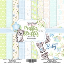 "Double-sided scrapbooking paper set ""Puffy Fluffy Boy"", 8""x 8"" , Fabrika Decoru"