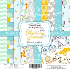 "Double-sided scrapbooking paper set  ""My tiny sparrow boy"",  8""x 8"" , Fabrika Decoru"
