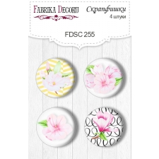 "Flair buttons. Set of 4pcs #255 ""Magnolia in Bloom"""