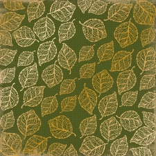 "Embossed paper sheet  ""Golden Delicate Leaves Green"""