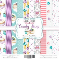 "Single-sided scrapbooking paper set ""Candy Shop"", 12""x12"", Fabrika Decoru"