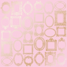 "Sheet of single-sided paper embossed by golden foil ""Golden Frames Pink"""