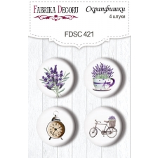 "Flair buttons. Set of 4pcs #421 ""Journey to Provence"""